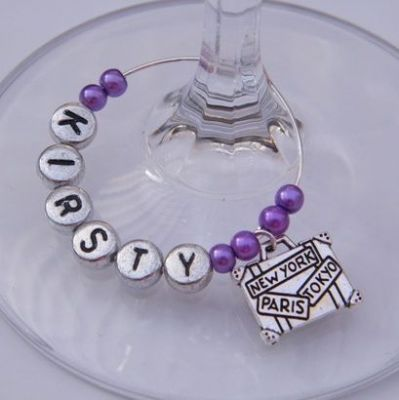 Suitcase Personalised Wine Glass Charm